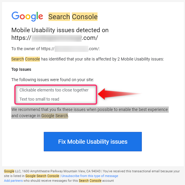 Google Search Console Alert on GUI issue