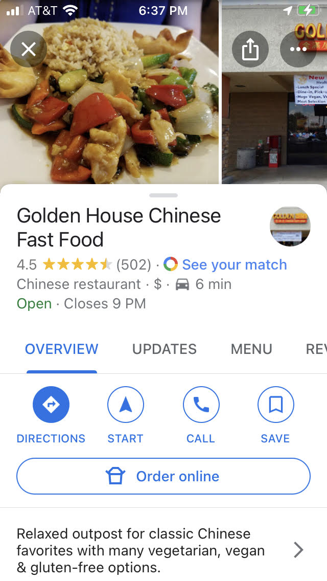 Finding information about a selected Chiense restaurant on Google Maps - WTMI