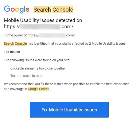 Google Search Console Design Warning