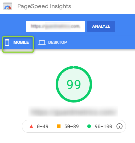 Site Speed Optimization is measured by the Core Web Vitals Score of PageSpeed insights - Eden Ads
