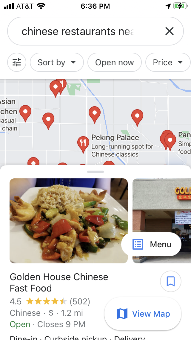 Searching for a Chinese restaurant on Google Maps - Busy GUI